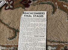 k1-5 ephemera 1966 article football report beachcombers v kent fire brigade