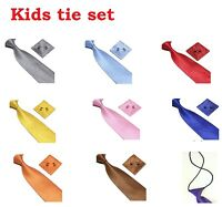 Kids Children Woven Silk Tie Set Cufflinks and Handkerchief Set Hanky Wedding