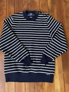 Saint James France Navy Blue Nautical Striped Knit Sweater Size XS