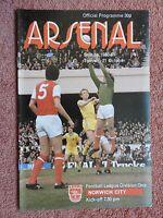 ARSENAL v NORWICH CITY, FOOTBALL PROGRAMME - DIVISION 1, 1980-81