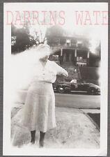 Unusual Vintage Photo Faceless Woman Light Exposure & 1941 Cadillac Car 728947