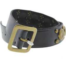 NEW Mens Stylish Polo Ralph Lauren Black Leather Studded Buckle Belt Size S