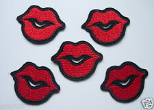 PC151 LIPS Kiss Lip Embroidered Patch Applique Red Iron On Trendy Fashion 5pcs