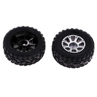 2x Black Tire Tyre & Silver Wheel for WLtoys 1:18 RC Car