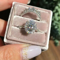 14K White Gold 3.30 ct Oval Diamond Unique Design Bridal Set Engagement Ring