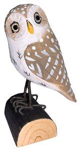 Handgeschnitzter heimischer Vogel stehend, Habichtskauz aus Holz 7x11x5cm, Deko