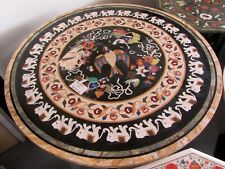 """72"""" Marble Birds Elephant Inlaid Dining Table Top Beautiful Living Room Decor"""