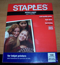 "Staples PICTURE / PHOTO PAPER - 100 sheets - 8.5""x11"" - White - Inkjet - NIP!"