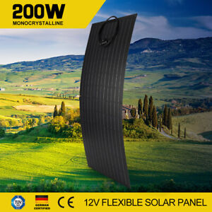 200W 12V Flexible Solar panel Kit Mono Cell Caravan Camping Charging 200watt