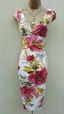 Size 10 UK Karen Millen Floral Garden Print Satin Galaxy Cocktail Wiggle Dress