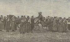 A1200 Lo Czar Nicolò II fra gli Ufficiali - Incisione - Stampa Antica del 1905