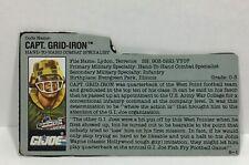 Gi Joe Cobra vintage 1991 capt grid iron file card