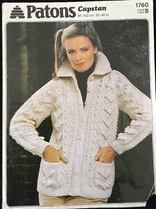 """Patons  Aran Knitting Pattern ladies Cardigan Jacket Size  32/40"""""""
