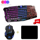 Gaming Keyboard+Mouse+Pad Combo LED Color Changing Backlit Mechanical Feel Wired