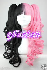 Lolita Long Pink Black Mixed Two Ponytail Cosplay Wigs Cos Wigs + wig cap