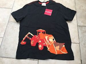 NWT HANNA ANDERSSON Black Screen-printed Backhoe Digger Shirt, Size 140 (10)