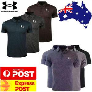 AU Under Armour Mens UA Golf Sports Polo Shirt Smooth Shirts Tops Size M-2XL