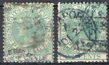 STRAITS SETTLEMENTS MALAYA 1867/72 STAMP Sc. 15/15a USED