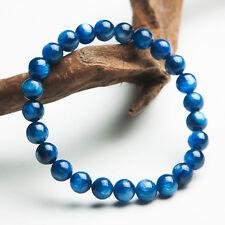 Natural Blue Kyanite Cat Eye Crystal Beads Stretch Bracelet 7mm AAA