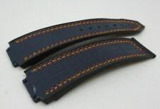 Hublot Big Bang Blue Gummy Alligator Strap OEM Genuine for 44mm Triple Stitch