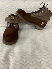 Timberland Work Boots Mens Size 9M Brown Leather Fold Down Top Soft Toe