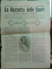 LA GAZZETTA DELLO SPORT GIUGNO 1899 SUPPLEMENTO GIORGIO GALLANZI  I-8-194