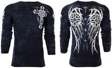Archaic Affliction Mens L/S Thermal Shirt SPIKE WINGS Tattoo BLK Biker S-3XL $58