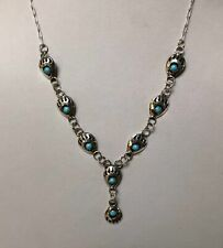 """Navajo Bear Paw Turquoise Sterling Silver Link Necklace 19"""" - Cynthia Johnson"""