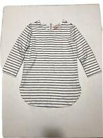 Merona Women's White Blue striped 3/4 sleeve Top Blouse Size XS