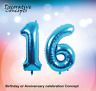 """Giant 16th Birthday Party 40"""" Foil Balloon Helium Air Decoration Age 16 BLUE"""