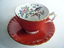 Aynsley Tea Cup And Saucer Orange Terra Cotta Color Bird & Flower Design