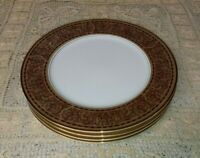 "4 Bristol Fine China Lordship 10.5"" Dinner Plates Brown Band Dots Leaves Scrolls"