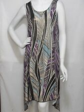 JOSTAR TRAVEL KNIT   POINTED SIDE SUB DRESS/ GOLD INLAY   MED  PURPLE/TEAL BLU