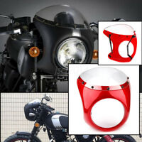 """Universal motorcycle 7"""" Cafe Racer Headlight Fairing Screen Windshield Cover Red"""