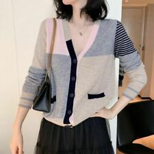 Korean Style Cardigan Sweater For Women V Neck Long Sleeves Single Breasted Type
