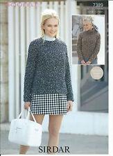 Ladies Sweaters In Sirdar Bouffle Yarn, Knitting Pattern 7389