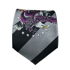 Ed Hardy Tie Men's Silk Black Gray Striped Eagle Tiger Rose True To Love Necktie