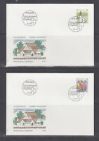 Switzerland Mi 1436/1460, 1991 issues, 8 sets in singles on 17 cacheted FDCs