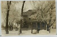 Snow Scene Winter Trees Victorian Home  House Iron Fence Real Photo Postcard L9