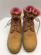Timberland Pink Knitted Roll Top Wheat Boots Women's Size 9 89350