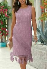 Midnight Velvet Pink Formal Wedding Cocktail Party Tassel Lace Dress Sz 6 12 16