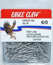 EAGLE CLAW BIG EYE STAINLESS CATFISH TROT LINE 6/0 HOOKS 049SSF-6/0 40ct