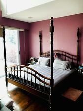 King-Size Wooden Four-Poster Bed Frame