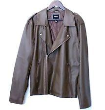 Mens Vegan Faux Leather Asymmetrical Moto Bomber Jacket Zip Sleeve Brown Size XL