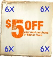 6 Home Depot $5 Off $50 In Store Only Purchase Expires 3 Weeks *SUPER FAST*