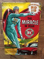 "SINCLAIR H-C GASOLINE PORCELAIN GAS PUMP SIGN SUPER HERO 18""x12"""