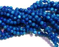 Muscheln Perlen 4mm Blau Perlmutt 1 Strang Kugel 65stk Schmucksteine BEST U249