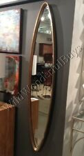 """Narrow Oval Wall Mirror Antique Gold 46"""" Hand Forged Metal Bevel Accent Dressing"""