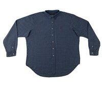 Polo Ralph Lauren Button Down Shirt XXL Blue Plaid Mens Long Sleeve