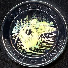 2002 Canada 5 Dollar 1 Oz 'Hologram' Maple Leaf (31.1035 Grams .9999 Silver)